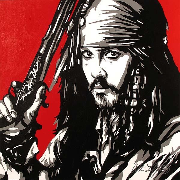 Allison Lefcort CAPTAIN JACK SPARROW Original Oil on Canvas