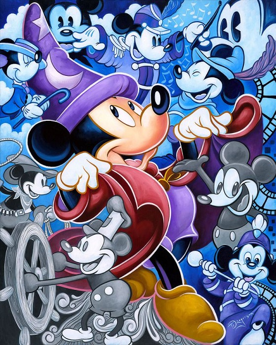 Tim Rogerson Celebrate the Mouse - From Disney Fantasia Hand-Embellished Giclee on Canvas
