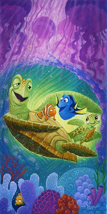 Tim Rogerson Cheer Up, Dude From Finding Nemo Hand-Embellished Giclee on Canvas
