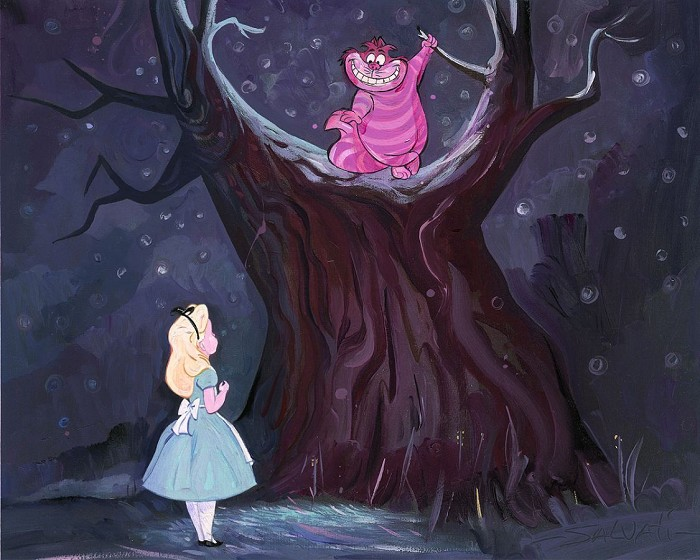 Jim Salvati Choosing Her Path - From Disney Alice in Wonderland Hand-Embellished Giclee on Canvas