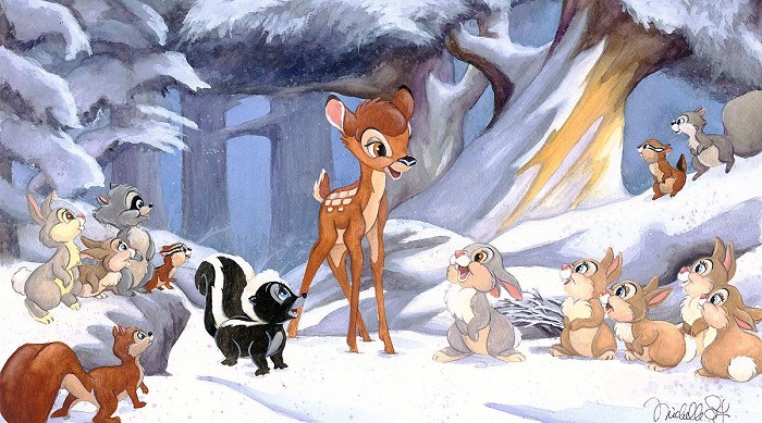 Michelle St Laurent Cold Winter Woods - From Disney Bambi Hand-Embellished Giclee on Canvas
