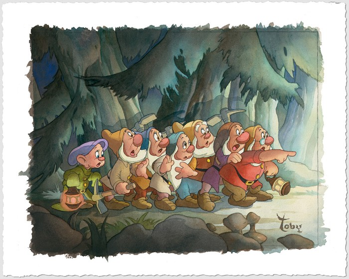 Toby Bluth Coming Home Snow White And The Seven Dwarfs Giclee On Paper
