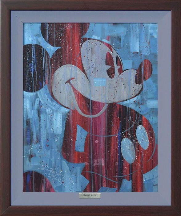 Stephen Fishwick Cool Blue Mickey Giclee On Canvas