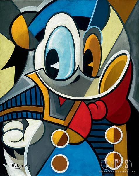 Tim Rogerson Cubist Quack Hand-Embellished Giclee on Canvas