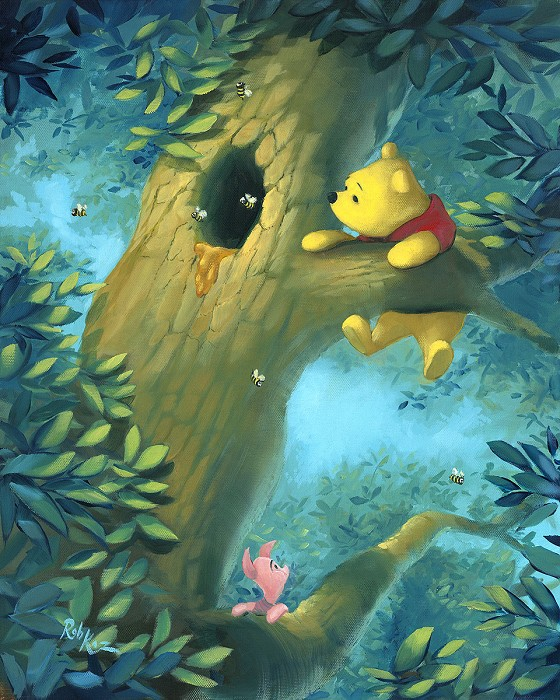 Rob Kaz  Curious Bear - From Disney Winnie the Pooh Hand-Embellished on Canvas