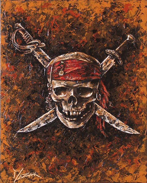 Trevor Mezak THE CURSE OF THE BLACK PEARL Original Oil on Canvas