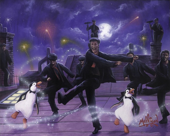James C Mulligan Dancing on the Rooftops - From Disney Mary Poppins Hand-Embellished Giclee on Canvas