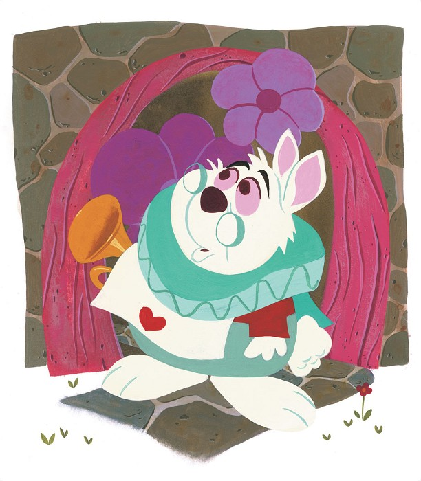 Daniel Arriaga White Rabbit From Alice In Wonderland Original Acylic on Board