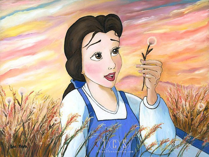 Paige O Hara Daydreams - From Disney Beauty and The Beast Hand Embelleshed Giclee On Canvas