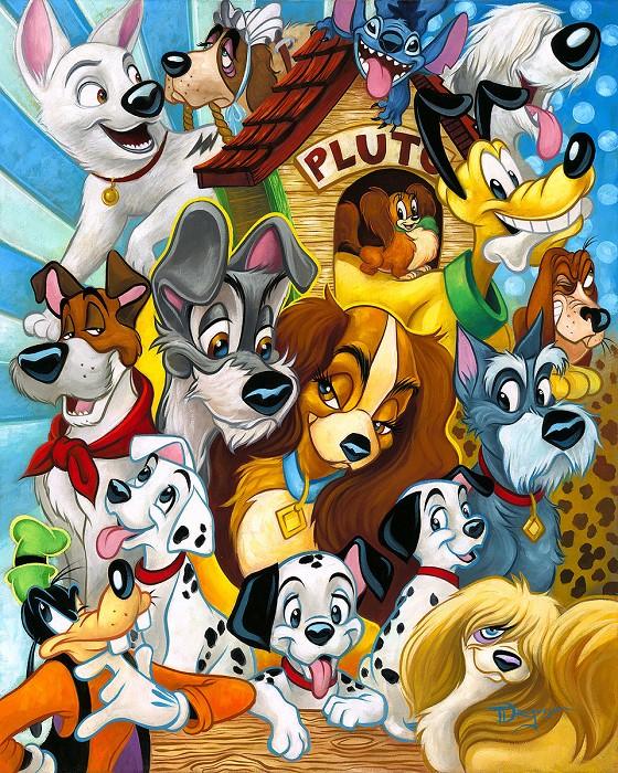 Tim RogersonDisney DogsHand-Embellished Giclee on Canvas