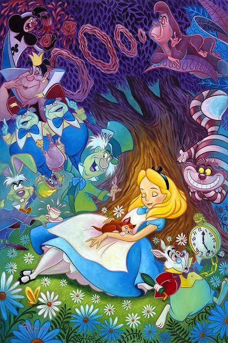 Tim Rogerson Dreaming in Color From Alice In Wonderland Hand-Embellished Giclee on Canvas