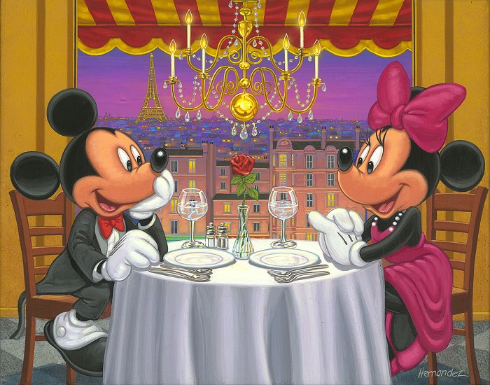 Manuel Hernandez Dinner for Two Mickey And Minnie Hand-Embellished Giclee on Canvas