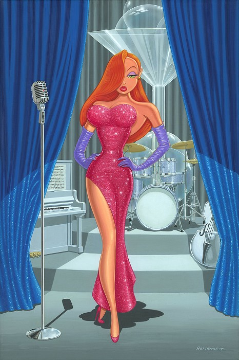 Manuel Hernandez Diva in a Red Dress - From Disney Who Framed Roger Rabbit   Hand-Embellished on Canvas