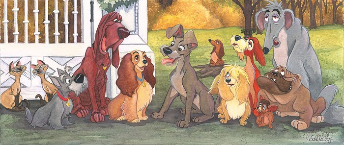 Michelle St LaurentA Dogs Life - From Disney Lady and The Tramp Giclee On Canvas