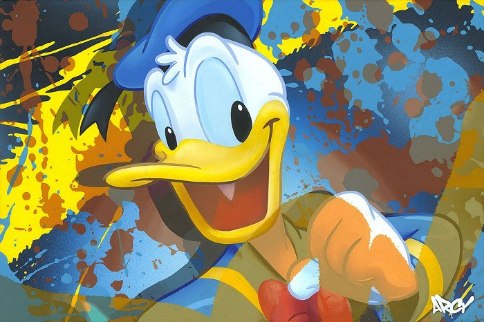 Arcy Donald Duck Hand-Embellished-Giclee-on-Canvas
