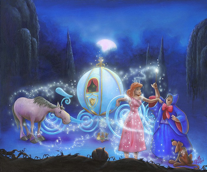James C Mulligan Dreams Come True From Cinderella Hand-Embellished Giclee on Canvas