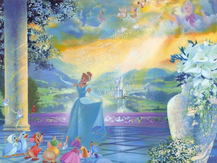 John Rowe The Life She Dreams Of - From Disney Cinderella Hand-Embellished Giclee on Canvas