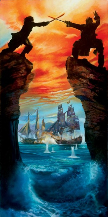 John Rowe Caribbean Duel - From Disney Pirates of the Caribbean Giclee On Canvas