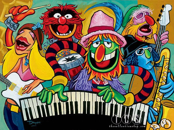 Tim Rogerson Electric Mayhem Band - From The Muppets Giclee On Canvas