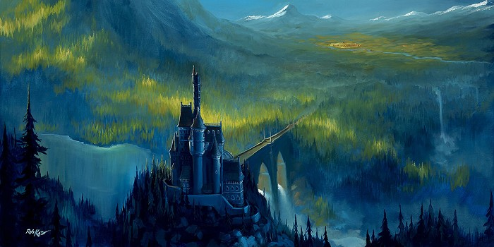 Rob Kaz  Enchanted Castle Hand-Embellished Giclee on Canvas