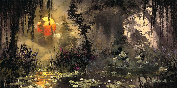 James Coleman Fishing at Lily Pad Lake Premiere Edition Hand-Embellished Giclee on Canvas