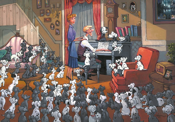 Rodel Gonzalez Family Gathering Premiere Edition - From Movie One Hundred and One Dalmatians Hand-Embellished Giclee on Canvas