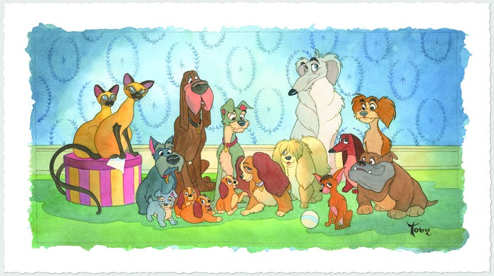 Toby Bluth Family Portrait - From Disney Lady and The Tramp Hand Deckled Giclee On Paper