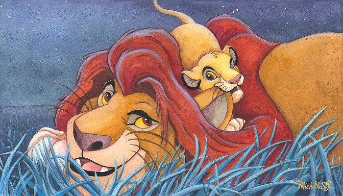 Michelle St Laurent Father And Son From Disney The Lion King Hand Embellished Giclee On Canvas