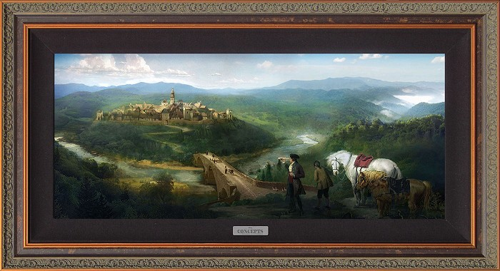Disney ConceptsGaston and Lefou's Arrival FramedGiclee On Canvas