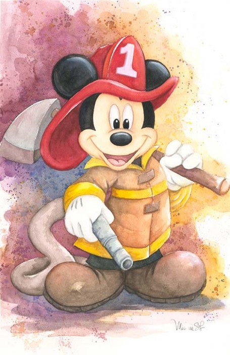Michelle St Laurent Fireman Mickey - From Disney Mickey Fire Brigade Hand-Embellished Giclee on Canvas