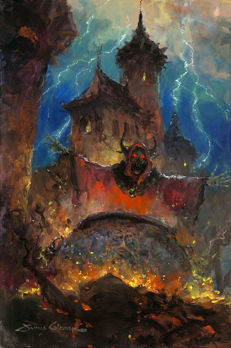 James Coleman Flames of the Cauldron Original Oil on Canvas