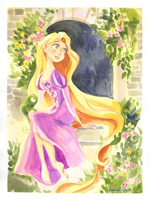 Victoria Ying Flowing Locks of Gold From Disney Rapunzel Original Gouacha on Paper