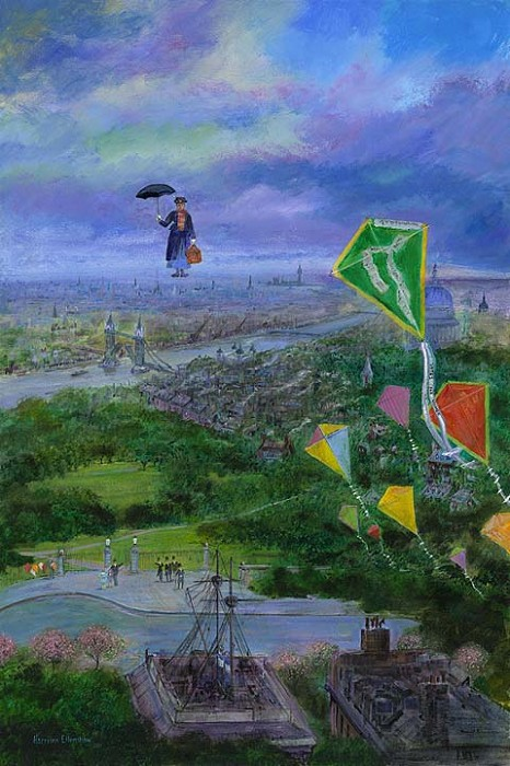 Harrison Ellenshaw Lets Go Fly a Kite - From Disney Mary Poppins Hand-Embellished Giclee on Canvas