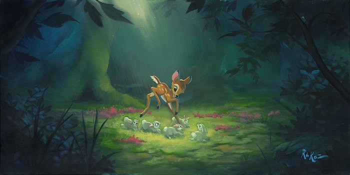 Rob Kaz  Forest of Frolicking Friends Original Oil on Canvas
