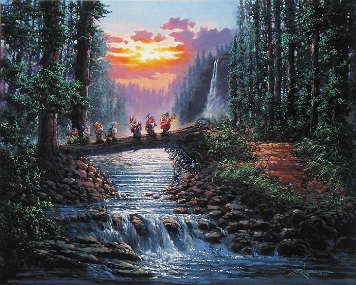 Rodel Gonzalez Forest Bridge - From Disney Snow White and the Seven Dwarfs Hand-Embellished Giclee on Canvas