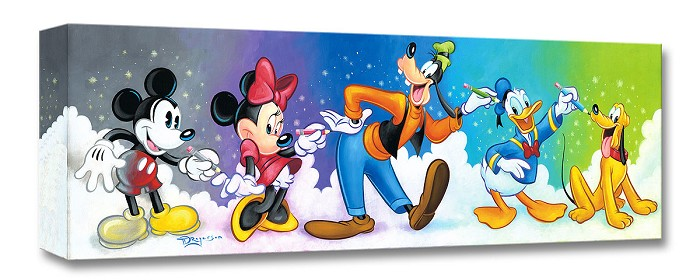 Tim Rogerson Friends by Design Mickey And The Gang Gallery Wrapped Giclee On Canvas