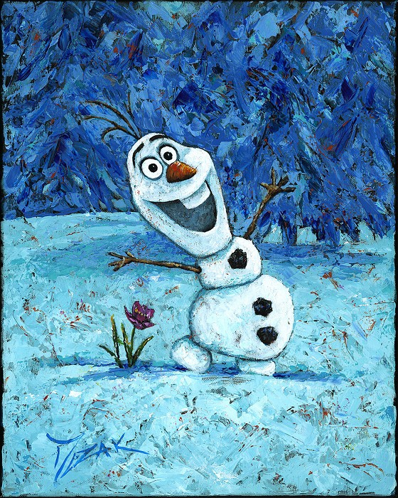 Trevor Mezak Olaf From The Movie Frozen Hand-Embellished Giclee on Canvas