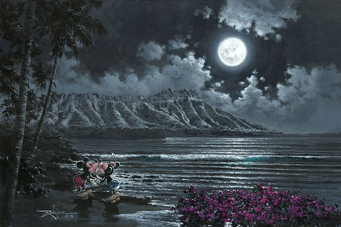 Rodel GonzalezFull Moon Over Diamond Head Mickey and MinnieOriginal Acrylic on Canvas