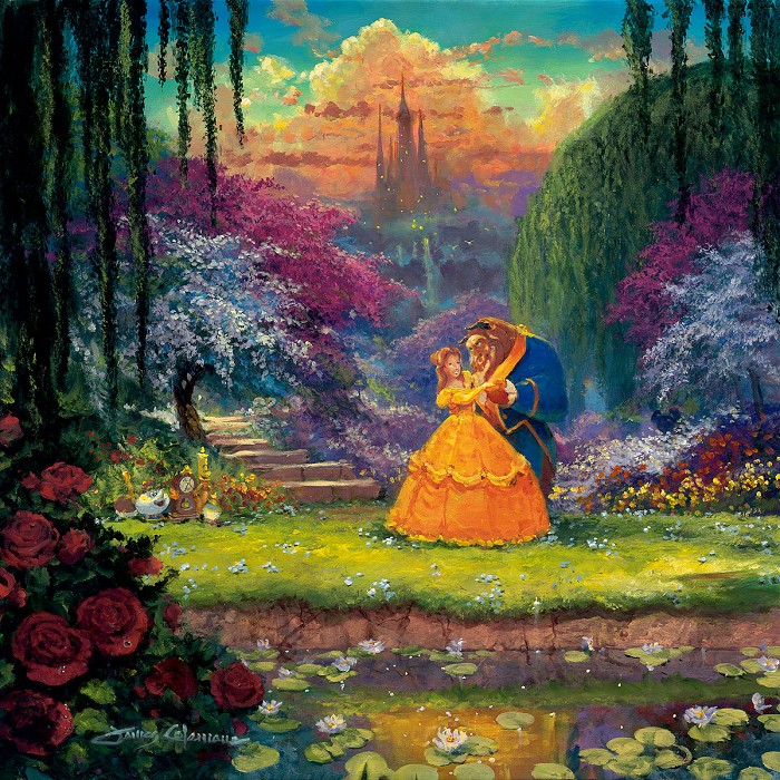 James Coleman Garden Waltz From Beauty and The Beast Hand-Embellished Giclee on Canvas