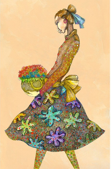 Charles BibbsGirl With DaisiesGiclee On Paper