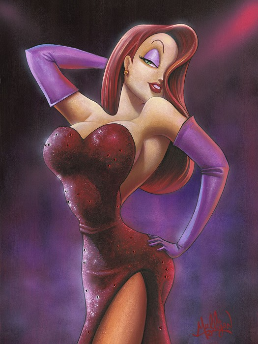 James C MulliganGirl in Red - From Disney Who Framed Roger Rabbit  Hand-Embellished Giclee on Canvas