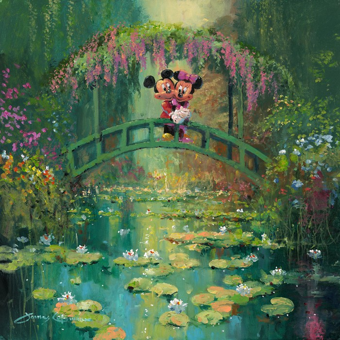 James Coleman Mickey and Minnie at Giverny Hand-Embellished Giclee on Canvas