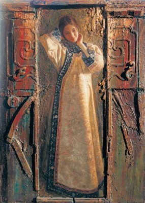 George Tsui The Red Door Chiarograph on Paper