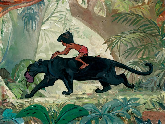Jim Salvati Jungle Guardian - From Disney The Jungle Book Giclee On Canvas