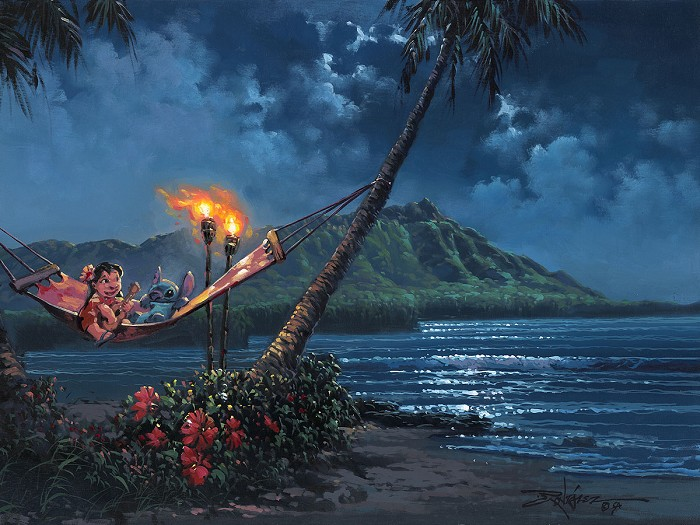 Rodel Gonzalez Hawaiian Serenade From Lilo and Stitch  Hand-Embellished Giclee on Canvas