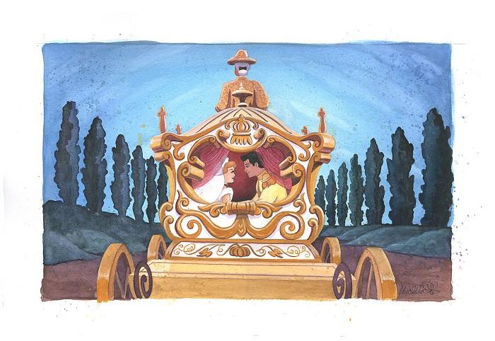 Michelle St Laurent Happily Ever After From Disney Cinderella Original Watercolor on Paper