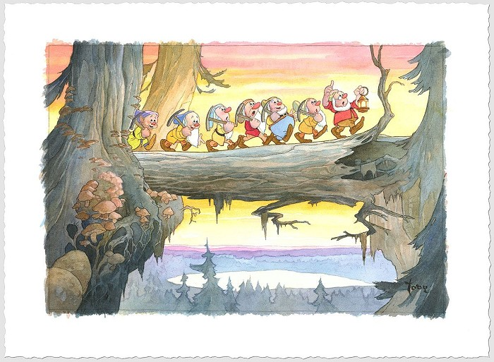Toby BluthHeigh Ho - From Disney Snow White and the Seven Dwarfs Giclee On Paper