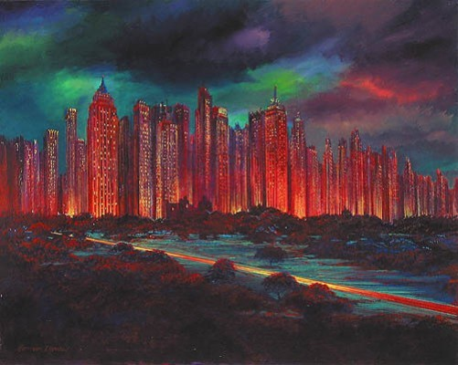 Harrison Ellenshaw Gotham Night Hand-Embellished Giclee on Canvas