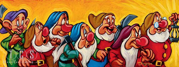 Tim Rogerson Hi Ho - From Snow White and the Seven Dwarfs  Giclee On Canvas