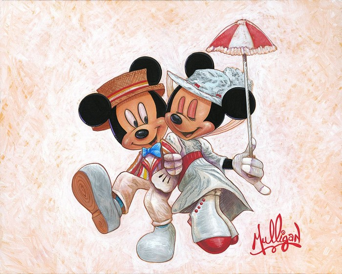 James C Mulligan Jolly Holiday with Minnie Hand-Embellished Giclee on Canvas